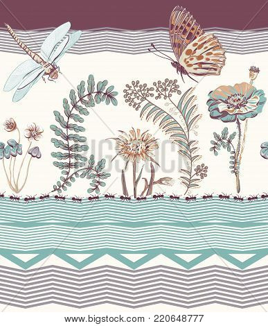 Vector floral seamless border, colorful wallpaper with dragonfly, plants and butterfly