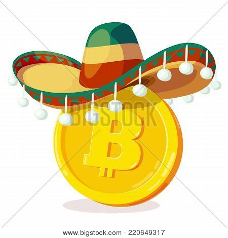 Bitcoin in mexican hat. Cartoon digital currency. Gold cryptocurrency. Money and finance symbol. Miner bit coin criptocurrency. Vector illustration