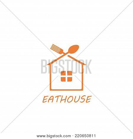 logo house with a roof in the form of a spoon and fork. logo for a cafe, restaurant, dining