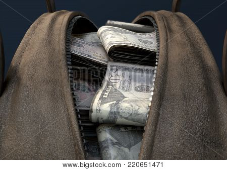 A concept depicting an open brown leather duffel bag revealing bundles of illicit rolled US dollar notes - 3D render