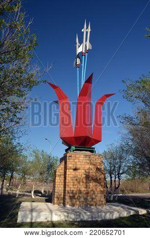 Tulip and missiles.Simbol of Priozersk-former Soviet anti-ballistic missile testing range Sary Shagan.May 11, 2017.Priozersk.Kazakhstan