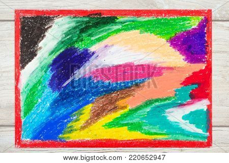 Photo of colorful drawing and oil pastels crayons, texture for background.