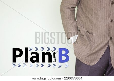plan b concept.silent girls red. the man is a businessman in a jacket. business planning