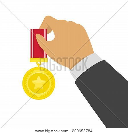 Gold Medal in the hands of the winner. Businessman hand holding golden medal. Competition winners, award concept. Vector illustration in flat style. EPS 10.