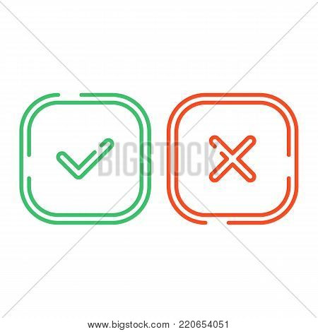 Thin line check mark icons set isolated on white background. Green tick and red cross checkmarks buttons in flat style. Yes or No confirm or reject signs. Vector illustration EPS 10.