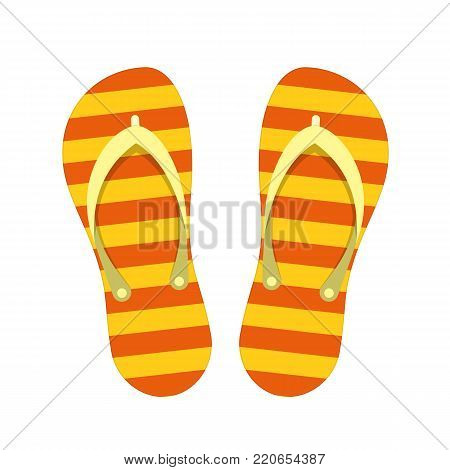 66b98999d0e18d Beach Slippers isolated on white background. Modern flip flops in flat  style. Summer or