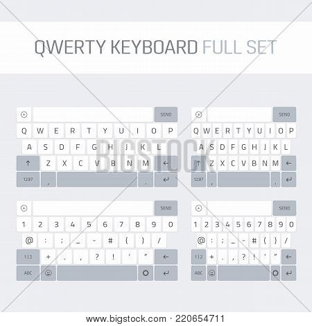 Qwerty keyboard full set. Keyboard of smartphone, alphabet and numbers buttons. Mobile phone keypad vector mock-up. Compact virtual key board for mobile device. Vector illustration EPS 10.