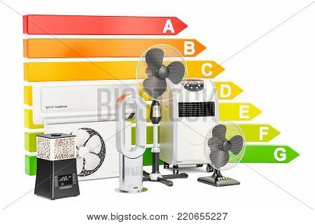 Energy efficiency chart with cooling and climate household electric equipment. Saving energy consumption concept, 3D rendering