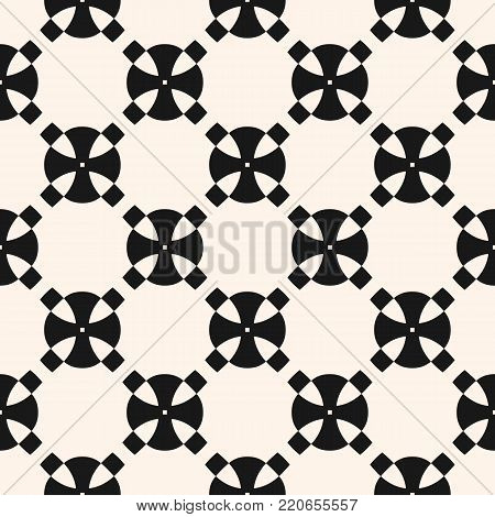 Vector abstract funky geometric monochrome seamless pattern. Black & white texture with rounded shapes, crosses, grid, lattice. Modern stylish funky style geometrical background, repeat tiles. Design for prints, decor