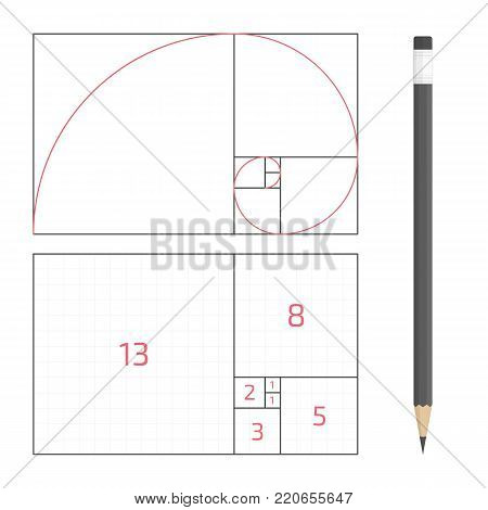 Golden ratio template. The principle of construction golden proportion. Vector illustration EPS 10.