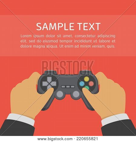 Gamer holding game controller. Gamepad or joystick in the hands of men. Man playing video games. Gaming in game console concept. Vector illustration in flat style. EPS 10. poster