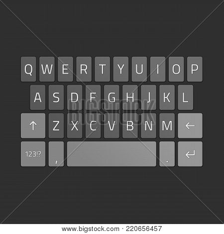 Vector smartphone keyboard, mobile phone keypad mockup template. Alphabet buttons illustration in flat style. QWERTY keyboards for smart phone. EPS 10.