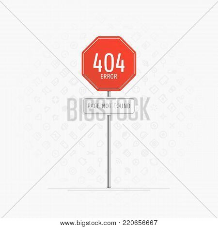 Page with a 404 error on road sign. The page you requested could not be found web page concept. Template reports that the pages is not found. Vector illustration EPS 10.