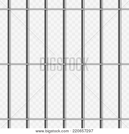 Prison metal bars isolated on transparent background. Realistic prison fence jail. Vector seamless pattern. Criminal or sentence concept. Illustration EPS 10.