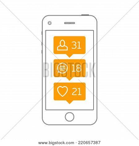 Smartphone and comment, like, follow icons in flat style. Social network icon pack on mobile phone screen. Notification Tooltip with heart, user, speech bubble, counter. Vector illustration. EPS 10.