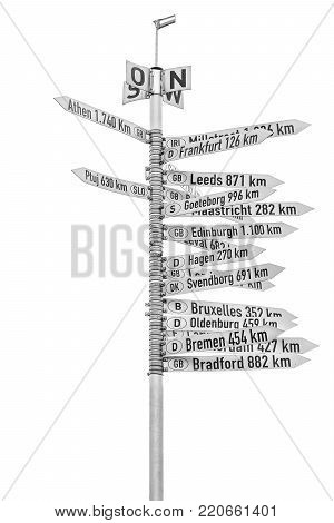 cities distance sign post from Karlsruhe, Germany