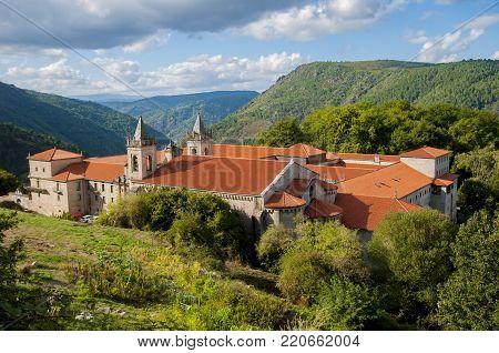 San Esteban's monastery of ribas of sil placed in the cannon of the sil in galicia españa