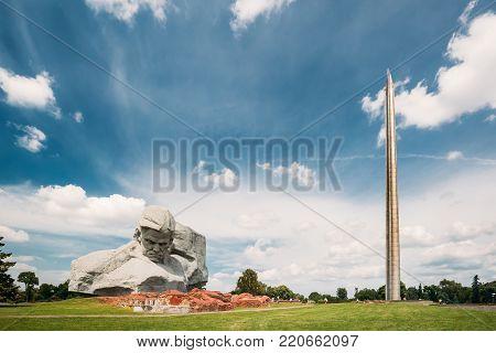 Brest, Belarus - June 6, 2017: Main Monument And Memorial Monument Bayonet - Obelisk In Brest Hero Fortress In Sunny Summer Day.