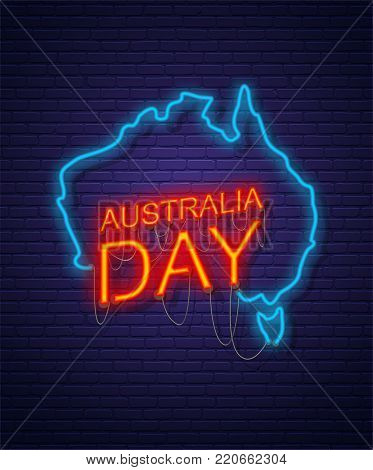 Australia Day. Neon sign on brick wall. Map of Australia. Australian National Holiday