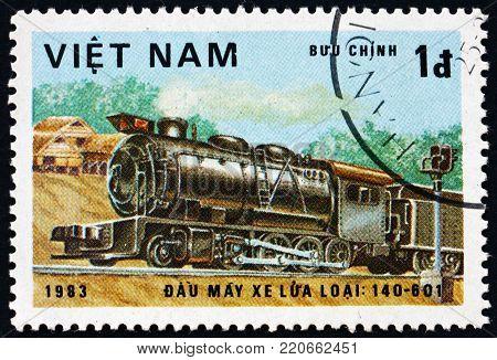 VIETNAM - CIRCA 1983: a stamp printed in Vietnam shows locomotive, class 140-601, circa 1983