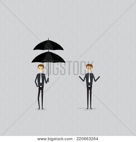 Businessman holding umbrella under rain.Businessman standing under the rain without the umbrella.Business vector concept illustration