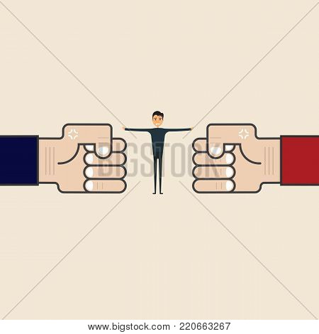 Businessman with blue,red hand sign.Referee between two businessmen.Business vector concept illustration