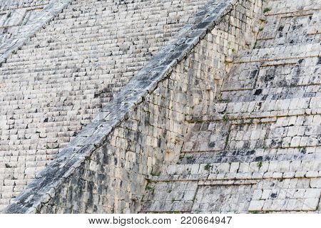 Abstract of the Steps of the Mayan El Castillo Pyramid at the Archaeological Site in Chichen Itza, Mexico