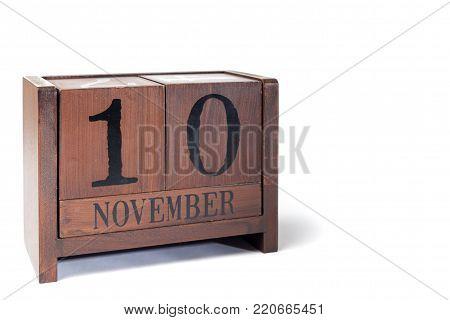 Wooden Perpetual Calendar set to November 10th