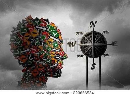 Life compass and psychology direction or psychological advice and guidance or training and coaching concept as a 3D illustration.
