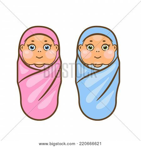 Cartoon newborn vector illustration. Boy and girl swaddled babies.