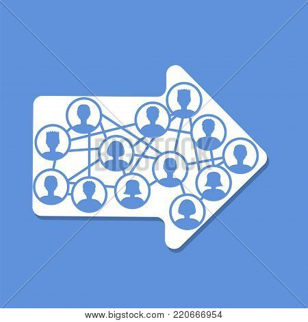 Social cloud in arrow concept. Stock vector illustration of user icons in interconnected system, community, social network with mutual goal, team work, collaboration in digital format .