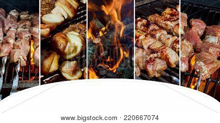 Grilled kebab cooking on metal skewer closeup. Roasted meat cooked at barbecue. BBQ fresh beef meat chop slices. Traditional eastern dish, shish kebab. Grill on charcoal Collage from different pictures