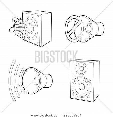 Speaker icon set. Outline set of speaker vector icons for web design isolated on white background