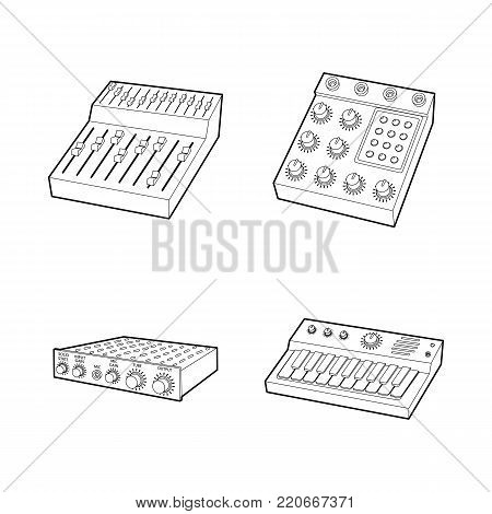 Equalizer icon set. Outline set of equalizer vector icons for web design isolated on white background