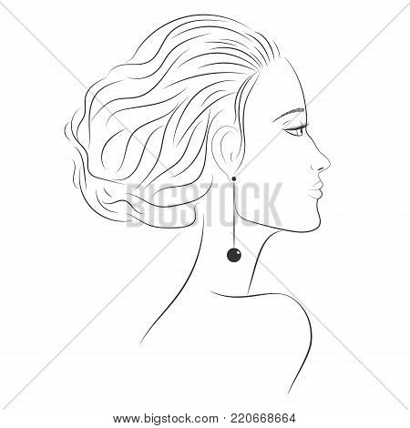 The face of a beautiful girl in profile. Beautiful woman. The face of a woman in profile. Contour of face. Straight nose, plump lips. Sad girl. Sketch of a portrait of a young woman in profile. EPS 10