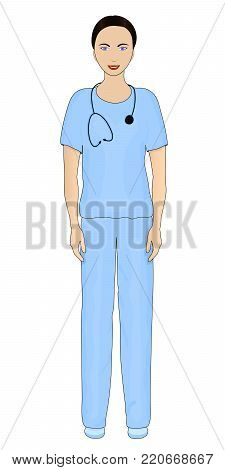 Picture of a female doctor. Blue clothes of the doctor. A joyful woman. Smile. Smiling girl. Beautiful female doctor. Stethoscope. Doctor with stethoscope. Young woman. Therapist. Vector Eps 10
