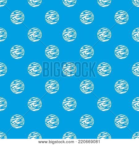 Far away planet pattern repeat seamless in blue color for any design. Vector geometric illustration