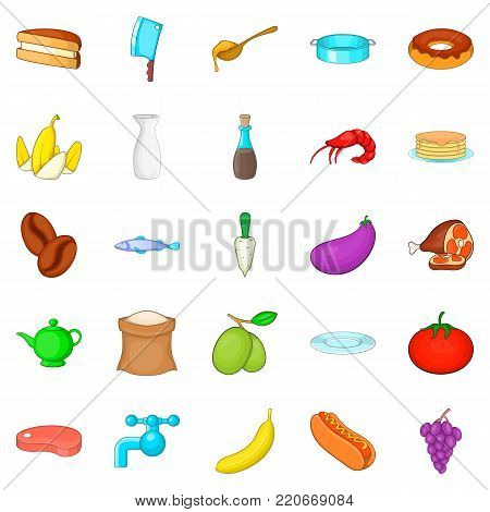 Culinary icons set. Cartoon set of 25 culinary vector icons for web isolated on white background