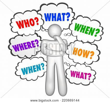 Who What Where When Why How Questions Thinker 3d Illustration