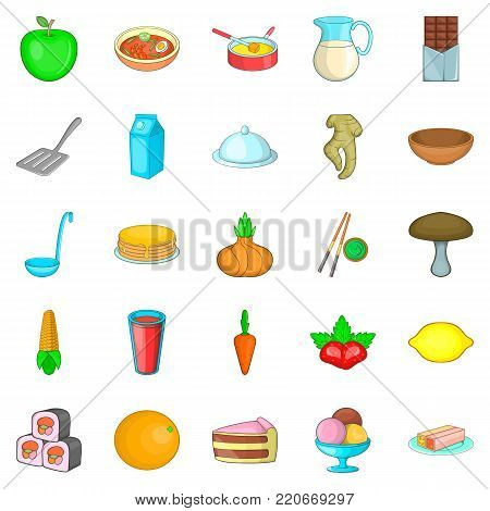 Culinary ingredient icons set. Cartoon set of 25 culinary ingredient vector icons for web isolated on white background