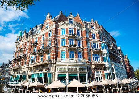Amsterdam, Netherlands - April 19, 2017: Hotel de l Europe is a five star hotel located on the Amstel river. The 19th century hotel became an official monument in 2001.