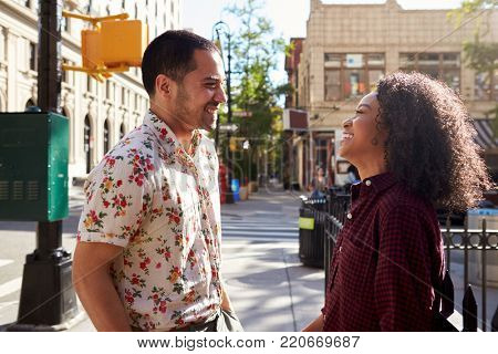 Young Couple Meeting On Urban Street In New York City