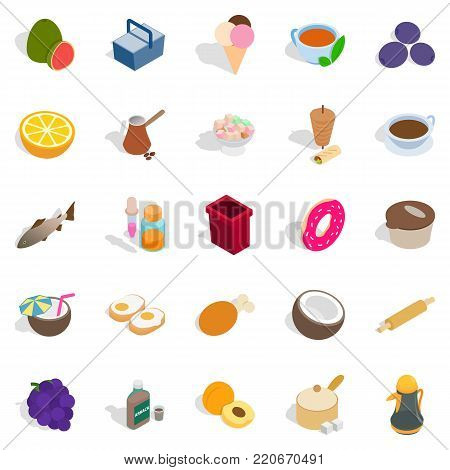 Prepare breakfast icons set. Isometric set of 25 prepare breakfast vector icons for web isolated on white background