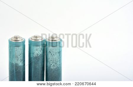 Three Aaa Batteries Isolated On White Background