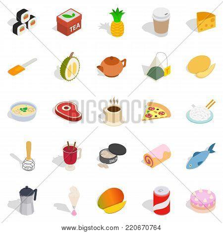 Mastery of cooking icons set. Isometric set of 25 mastery of cooking vector icons for web isolated on white background