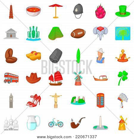London icons set. Cartoon style of 36 london vector icons for web isolated on white background