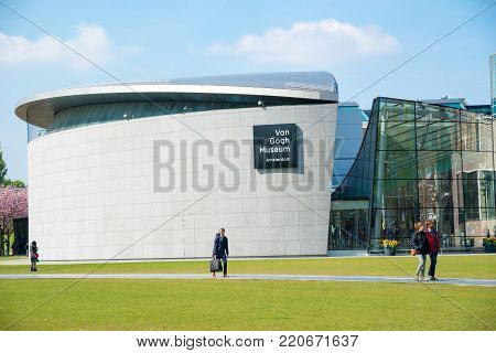 Amsterdam, Netherlands - April 20, 2017: Van Gogh museum building outstanding with design architectured in Amsterdam, Netherlands