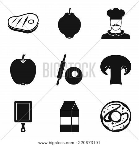 Delicious appetizer icons set. Simple set of 9 delicious appetizer vector icons for web isolated on white background