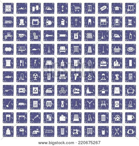 100 housework icons set in grunge style sapphire color isolated on white background vector illustration