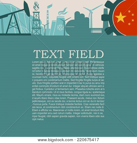Energy and Power icons set. Sustainable energy generation and heavy industry. Field for text. Modern brochure, report or leaflet design template. Flag of China in gear